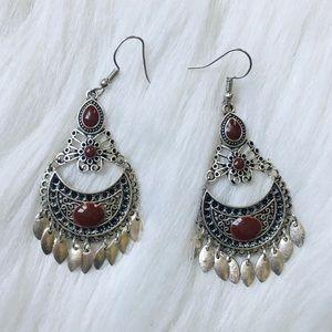 Bohemian Style Burgundy & Silver Dangling Earrings